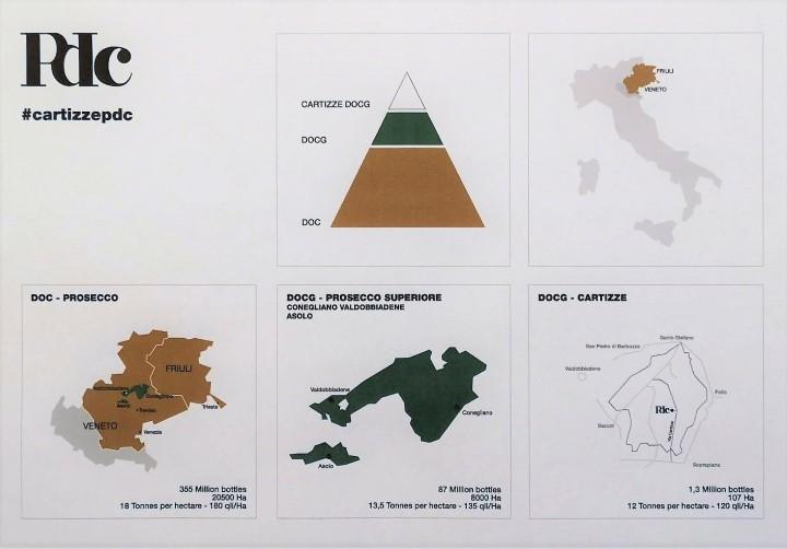 Zemljevid Prosecco DOC, DOCG in Cartizze področij